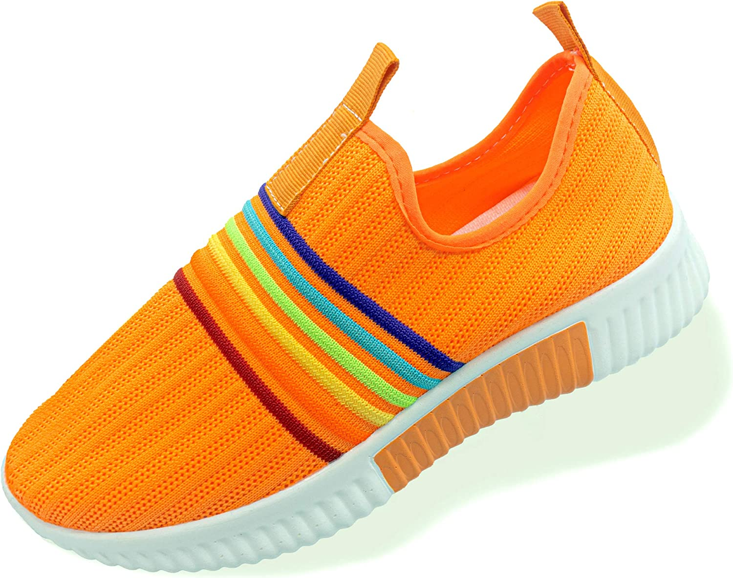 TASHM Women Knitted Mesh Colorful Stripes Shoes - Good for Work,