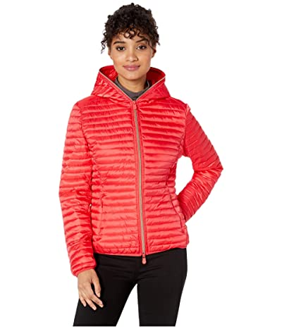 Save the Duck Hooded Basic Jacket (Hibiscus Red) Women