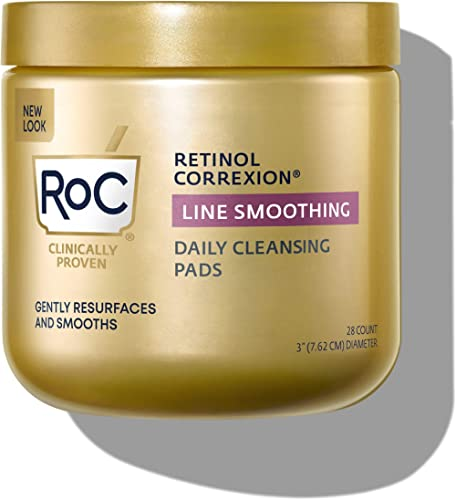 RoC Daily Resurfacing Disks, Hypoallergenic Exfoliating Makeup Removing Pads, 28 Count (packaging may vary)