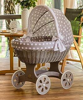 """ComfortBaby  HOME XXL Baby Stubenwagen - komplette """"all inclusive"""" Ausstattung - Zertifiziert & Sicher Grau – GrauMitWeissenKreisen"""