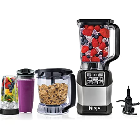 Ninja Blender and Food Processor System with 1200-Watt Auto-iQ Base, 72 Oz Pitcher, 40 Oz Blend & Prep Bowl, Dough Tool and (2) 24 Oz Cups with Lids (BL494), Black