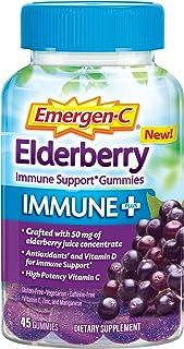 Emergen-C Immune+ Elderberry Gummies, 750 mg Vitamin C with Vitamin D, Zinc and Electrolytes, Immune Support Dietary Suppl...