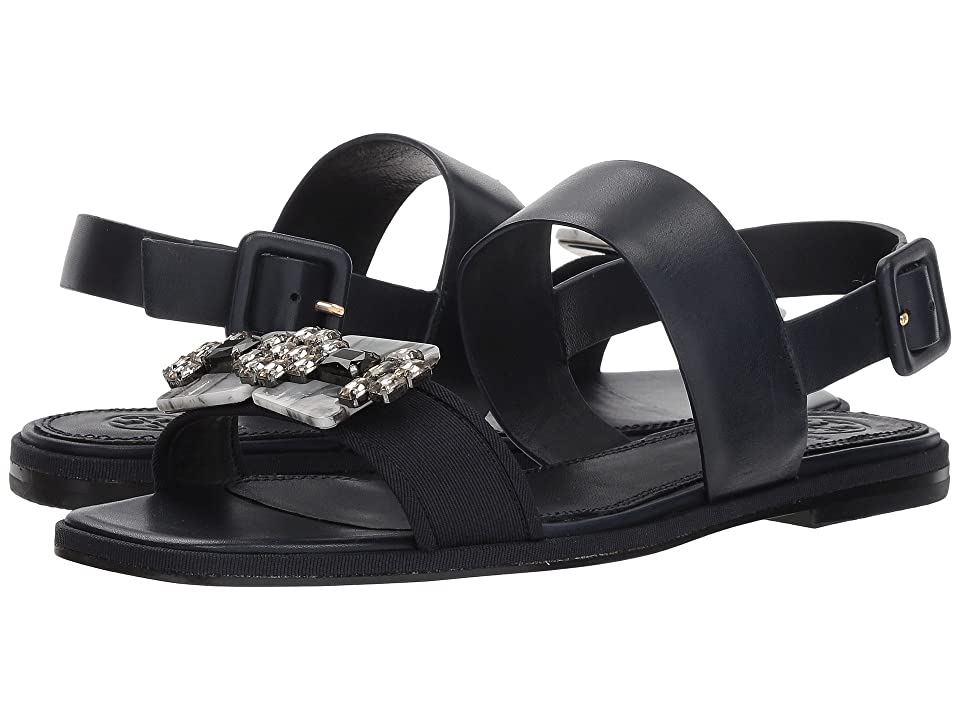 Tory Burch Delaney Embellished Flat Sandal (Perfect Navy/Perfect Navy) Women