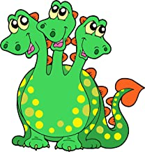Three Headed Green Dragon with Spots Magical Creature Cartoon Vinyl Sticker (8