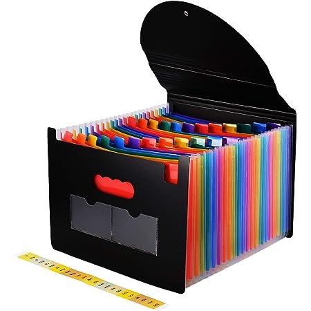 UBAYMAX Trieur Document A4, Classeur Accordéon 24 Compartiments, Organiseur Bureau Plastique Extensible avec Couvercle (Arc-en-Ciel)