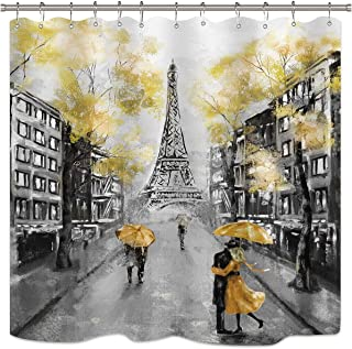 Riyidecor Paris Shower Curtain Black Yellow Eiffel Tower Oil Painting Couple European..