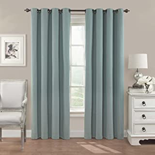 """Eclipse Nadya Solid Thermal Insulated Single Panel Grommet Top Darkening Curtains for Living Room, 52"""" x 84"""", Smokey Blue"""
