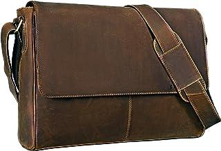 """STILORD Oskar"""" Umhängetasche Laptoptasche 15 Zoll aus echtem Leder Messenger Bag Business Vintage Look, Farbe:mittel - braun"""