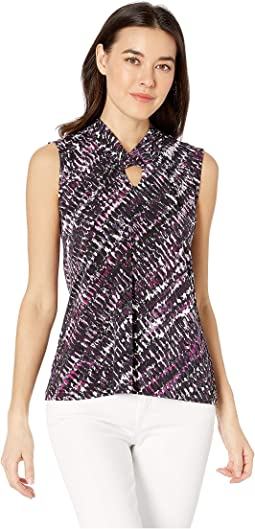 Matte Jersey Printed Twist Neck Sleeveless Top