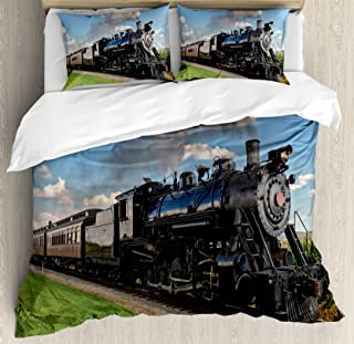 Ambesonne Steam Engine Duvet Cover Set, Vintage Locomotive in Countryside Scenery Green Grass Puff Train Picture, Decorative 3 Piece Bedding Set with 2 Pillow Shams, Queen Size, Blue Green