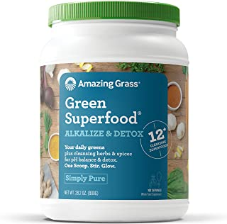 Amazing Grass Green Superfood Alkalize & Detox: Organic Plant Based Powder with Active Probiotics, Greens and Wheat Grass, 100 Servings