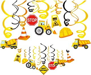 Kristin Paradise 30Ct Construction Hanging Swirl Decorations, Traffic Zone Birthday Theme Streamers, Construction Trucks P...