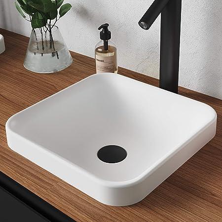 Kraus Natura - Fregadero para baño, Moderno, Square, Semi-Recessed