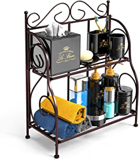Bathroom Countertop Organizer, F-color 2 Tier Foldable Kitchen Spice Rack Counter Storage Shelf Organizer, Bronze