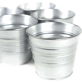 Set of 15 - Galvanized Metal Bucket Planters Flower Pots for Porch Patio Deck or Backyard, Silver