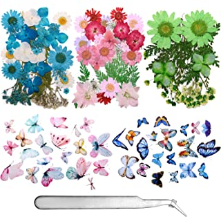 155 Pieces Dried Pressed Flowers and Butterfly Transparent Stickers Set with Tweezers,Natural Dried Flowers for Reisn, Art...