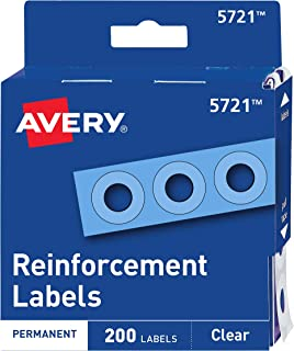 Avery Clear Self-Adhesive Reinforcement Labels, Round, Pack of 200 (5721)