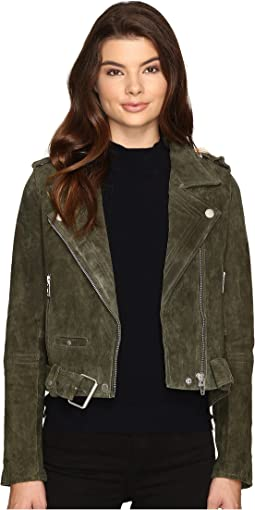 Real Suede Moto Jacket in Olive Juice