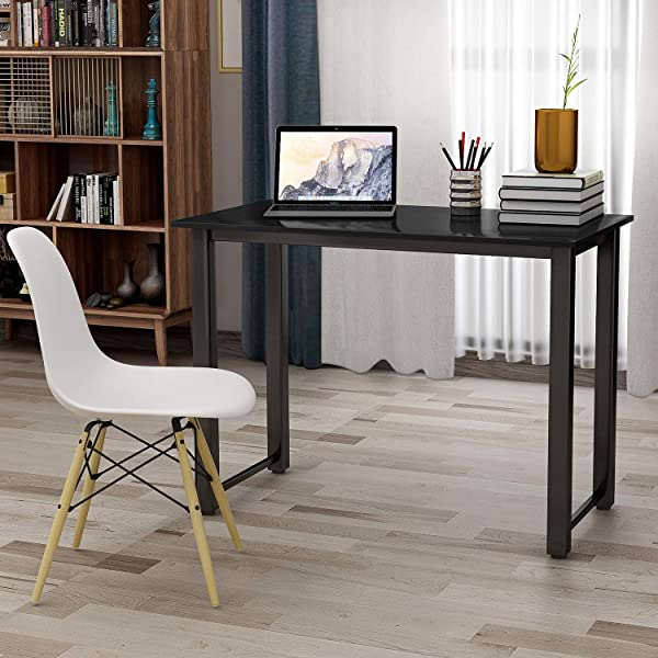 Office Desk 47 2 Modern Simple Style Computer Desk Writing Desk PC Laptop Study Table Studio Desk Workstation With Spacious Wood Top Metal Legs For Home Office Black