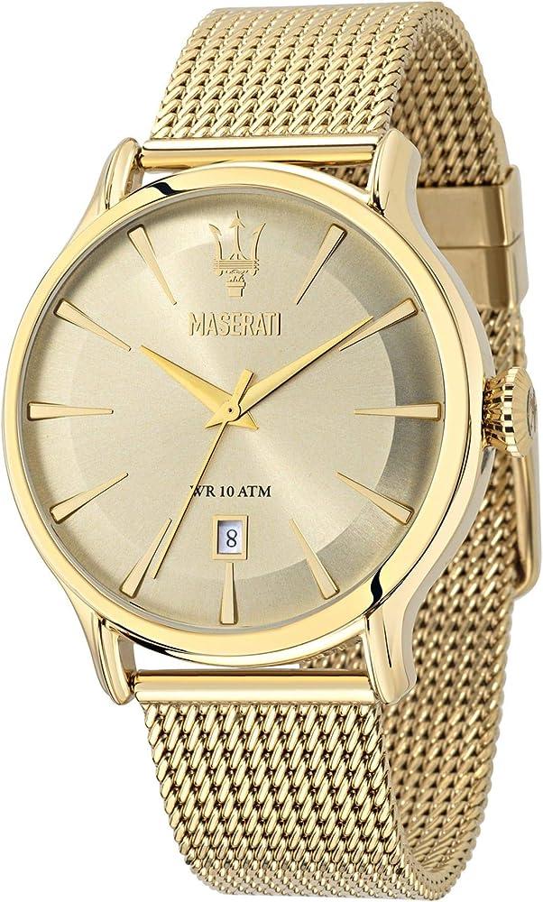 Maserati orologio da uomo, collezione epoca,in acciaio inossidabile, pvd oro 8033288715078