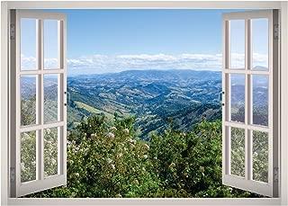 West Mountain Beautiful Calming Landscape View Window 3D Wall Decal Art Removable Wallpaper Mural Sticker Vinyl Home Decor W109 (Medium (32''W x 23''H))