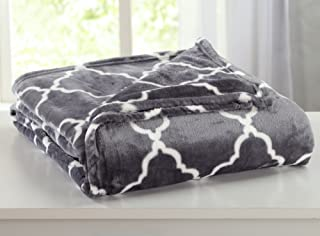 Velvet Plush Soft Bed Blanket with Lattice Scroll Design by Home Fashion Designs (Full/Queen, Steel Grey)