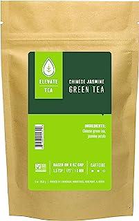 Elevate Tea Chinese Jasmine Tea - Loose Leaf Green Tea, Medium Caffeine, 3 oz Pouch - 30 Cups, Hot & Iced Tea, No Artifici...