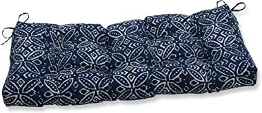 "Pillow Perfect Outdoor/Indoor Merida Indigo Tufted Bench/Swing Cushion, 44"" x 18"", Blue"