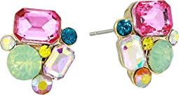 Multicolor Cluster Stone Stud Earrings