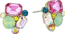 Multicolor Cluster Stone Stud Earrings