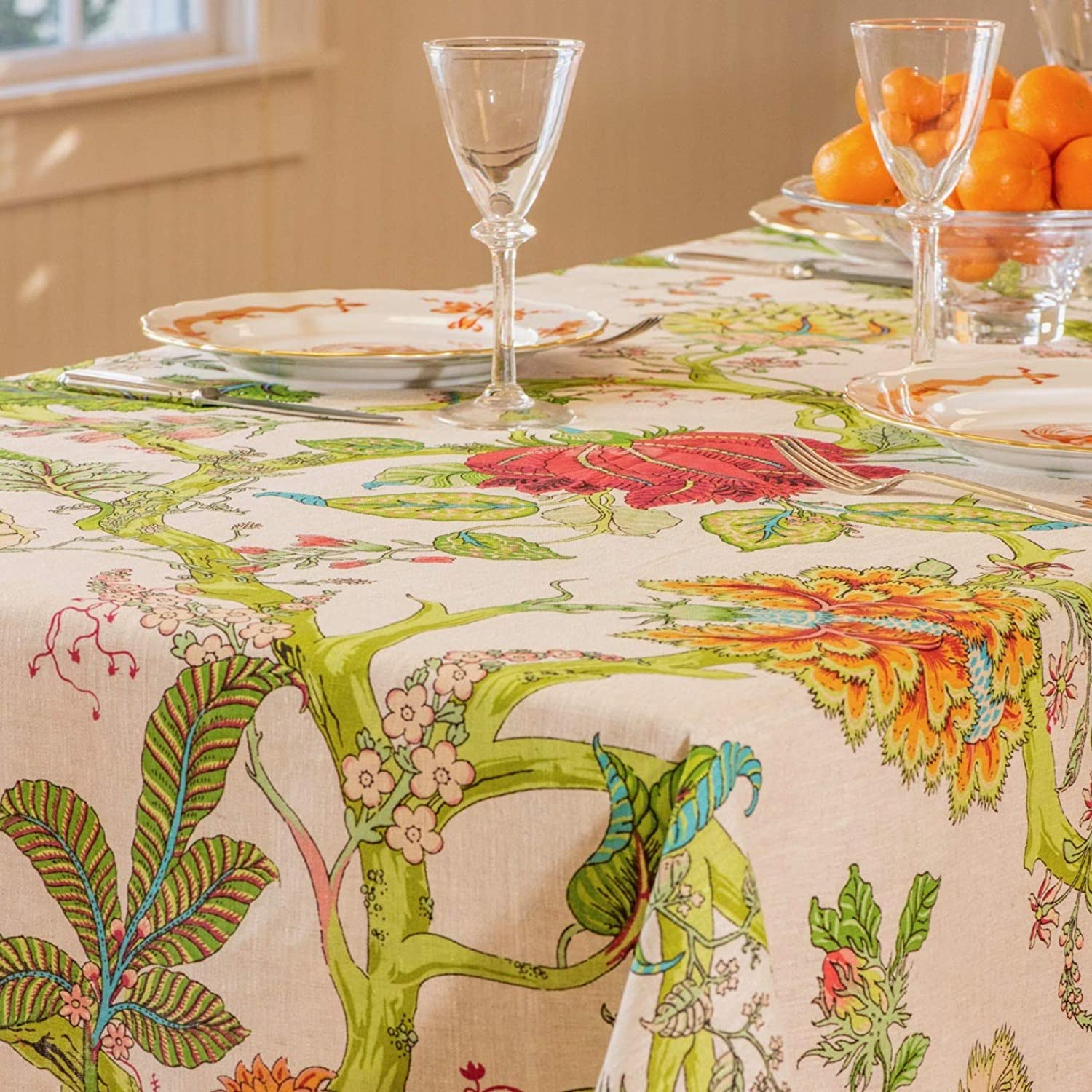 "Amelie Michel French Linen Tablecloth in Darjeeling   Authentic 100% Linen Fabric, Made in France [60"" x 96"" Rectangle]"