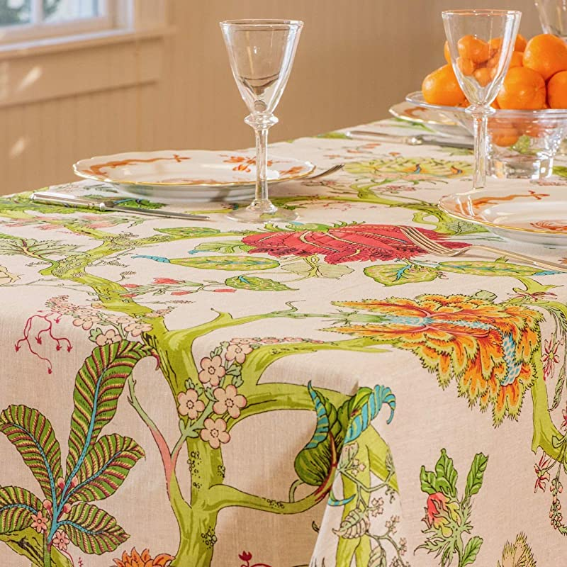Amelie Michel French Linen Tablecloth In Darjeeling Authentic 100 Linen Fabric Made In France 60 X 96 Rectangle
