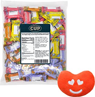 Gem Gem Assorted Ginger Chews Individually Wrapped 1 Pound By The Cup Mix of Original, Mango, Lemon & Orange with Jelly Belly Mini Emoji Plush