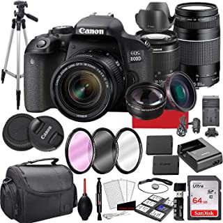Canon EOS 800D (Rebel T7i) DSLR Camera with 18-55mm is STM & 75-300mm III Lens Bundle + 64GB Memory,Case, Tripod and More