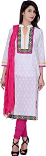 Rama Women's Cotton Suit Set of White Embroidery khdi Printed Kurta and Pink Legging and Dupatta