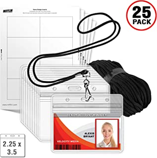 MIFFLIN Lanyard with Horizontal ID Holder (Black, 2.25x3.5 Inch, 25 Pack) Includes Paper Inserts