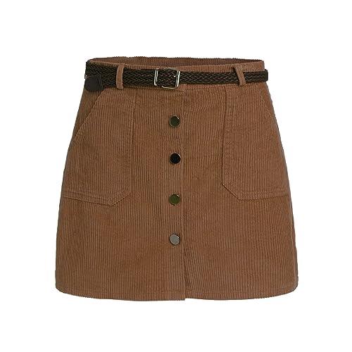 a47ac12847 Romwe Women's Cute Mini Corduroy Button Down Pocket Skirt with Belt