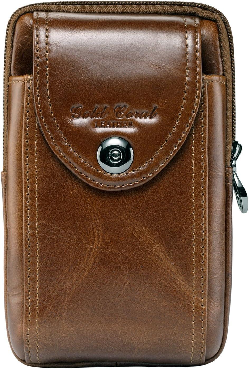 Sunmig Men Genuine Leather Cell Phone Belt Loop Holster Case Belt Waist Bag Pouch Purse Wallet