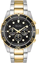 Bulova Men's 98A171 Quartz Chronograph Black Dial Two-Tone Bracelet 43mm Watch