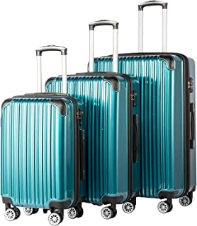 Coolife Luggage Expandable 3 Piece Sets PC+ABS Spinner Suitcase 20 inch 24 inch 28 inch (green)