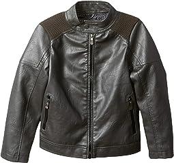 Justin Faux Leather Biker Jacket Ribbed Shoulder (Toddler)