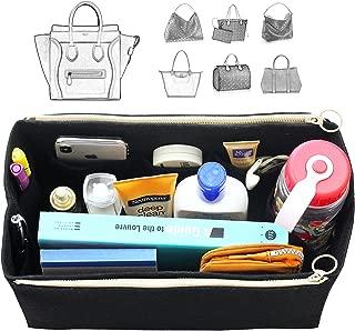 [Fits Ce.line Bags] Felt Tote Organizer (w/Double Zipper Pockets), Bag in Bag, Wool Purse Insert, Customized Tote Organize, Cosmetic Makeup Diaper Handbag