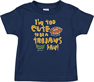Rookie Wear by Smack Apparel Notre Dame Football Fans. Too Cute to Be a Trojans Fan Navy Onesie or Toddler Tee (NB-4T)