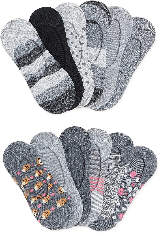NO BOUNDARIES LADIES LINER FUN SOCK BUNDLE, 12 PACK~ Shoe Size 4-10