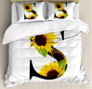 Ambesonne Letter S Duvet Cover Set, Letter S with Flora Elements Sunflowers on Dark Colored Abstract Art Print, Decorative 3 Piece Bedding Set with 2 Pillow Shams, Queen Size, Green Black