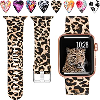 Laffav Floral Band Compatible with Apple Watch 40mm 38mm 44mm 42mm for Women Men, Soft Sport Pattern Replacement Waterproof Strap Compatible with iWatch Series 5 4 3 2 1, S/M M/L