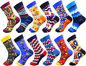 WEILAI Men's Funky Colorful Novelty Cool Design Crazy Comfort Cotton Casual Dress Crew Socks