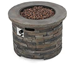 GDF Studio Stonecrest Patio Furniture ~ Outdoor Propane (Gas) Fire Pit 40,000BTU (Table)(Grey Stone/Round)