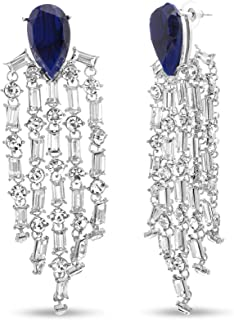 Steve Madden Pear Rhinestone Chandelier Dangle Earrings for Women