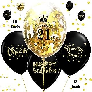 Otyland Decor 21st Birthday Decorations Set 18 Inch 21st Gold Confetti Balloons & 12